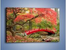 Obraz na płótnie – Czerwony most czy czerwone drzewo – jednoczęściowy prostokątny poziomy KN1122A