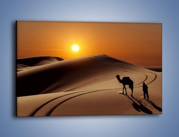 Obraz na płótnie – Człowiek wielbłąd i wydmy – jednoczęściowy prostokątny poziomy KN1134A
