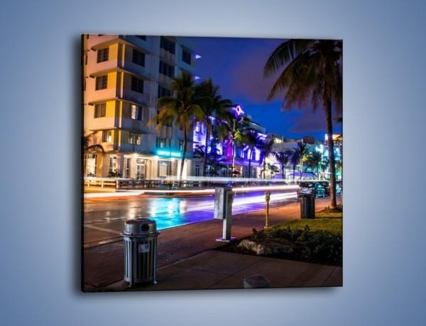 Obraz na płótnie – Ulice Miami nocą – jednoczęściowy kwadratowy AM536