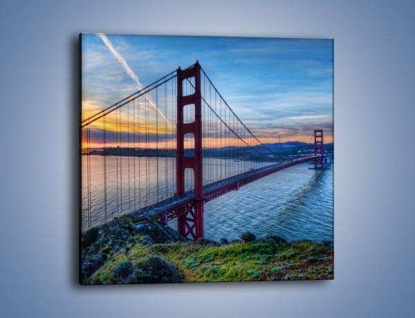 Obraz na płótnie – Wschód słońca nad mostem Golden Gate – jednoczęściowy kwadratowy AM539