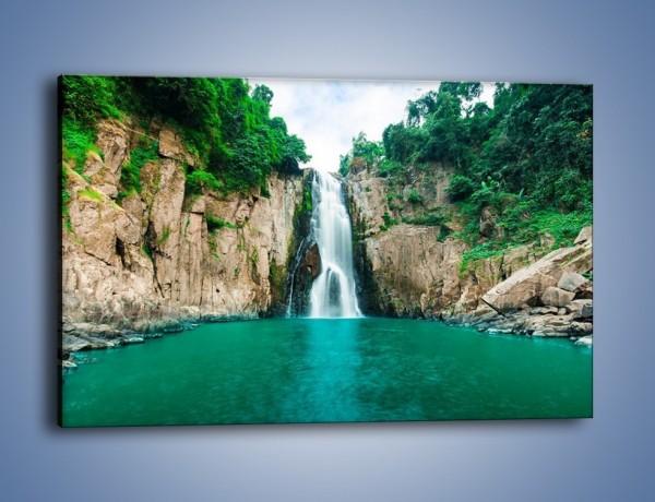 Obraz na płótnie – Skok ze skarpy do wody – jednoczęściowy prostokątny poziomy KN1184A