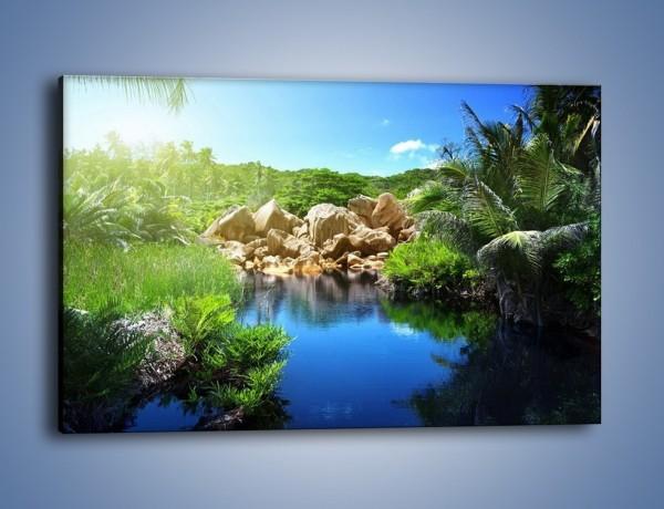 Obraz na płótnie – Wapienne skałki na wodzie – jednoczęściowy prostokątny poziomy KN1188A