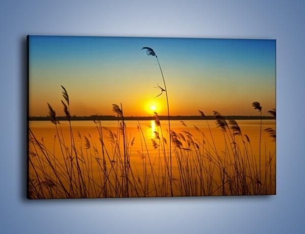 Obraz na płótnie – Jezioro o zachodzie słońca – jednoczęściowy prostokątny poziomy KN1195A