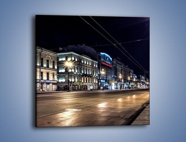 Obraz na płótnie – Ulica w Petersburgu nocą – jednoczęściowy kwadratowy AM544