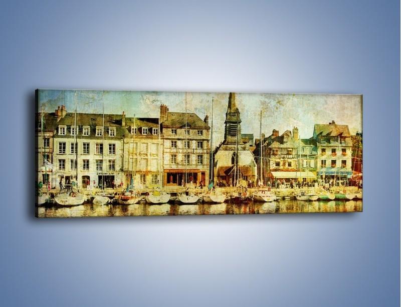 Obraz na płótnie – Łódki nad brzegiem miasteczka w stylu vintage – jednoczęściowy panoramiczny AM108