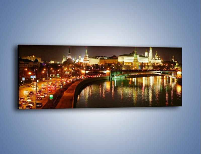 Obraz na płótnie – Moskwa nocą – jednoczęściowy panoramiczny AM118