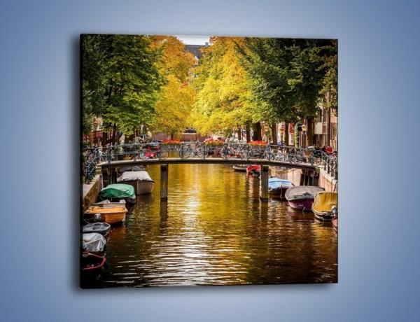 Obraz na płótnie – Most nad amsterdamskim kanałem – jednoczęściowy kwadratowy AM552