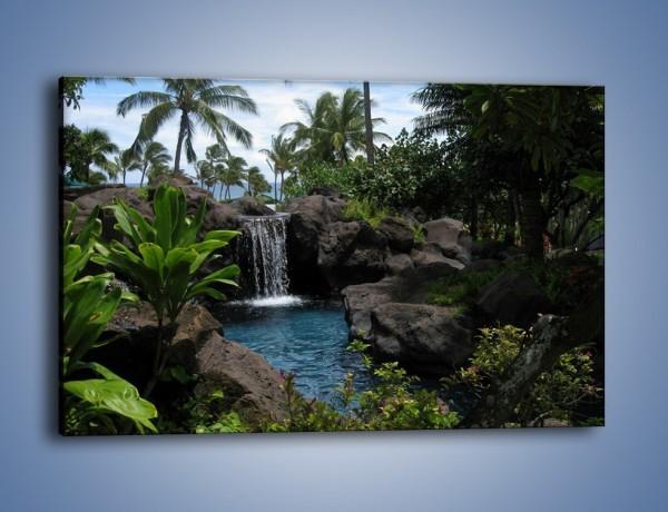 Obraz na płótnie – Wodospad wśród palm – jednoczęściowy prostokątny poziomy KN208