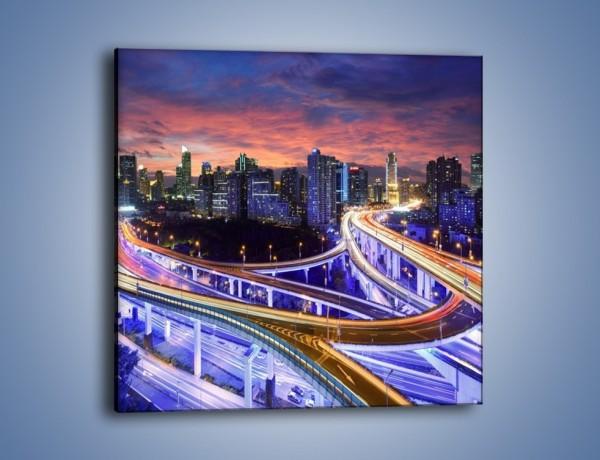 Obraz na płótnie – Zapadająca noc nad Szanghajem – jednoczęściowy kwadratowy AM558