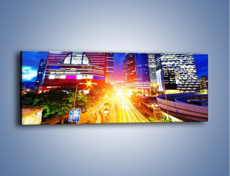 Obraz na płótnie – Miasto w żywych kolorach – jednoczęściowy panoramiczny AM131