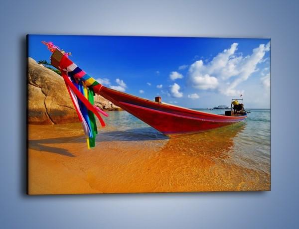Obraz na płótnie – Kolorowa łódź na brzegu – jednoczęściowy prostokątny poziomy KN415