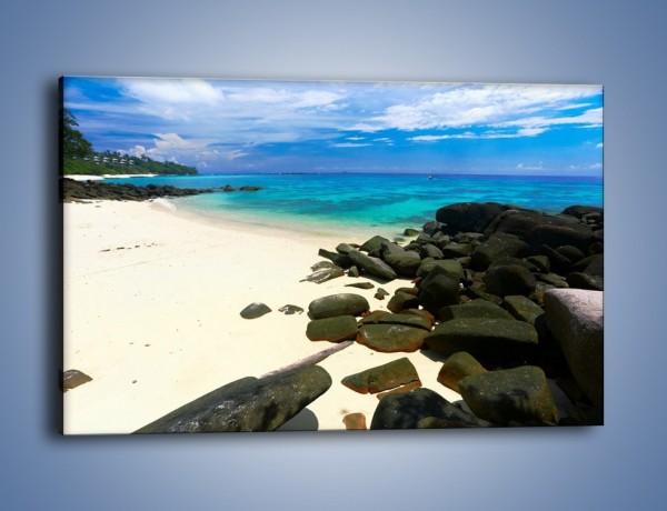 Obraz na płótnie – Czarne kamienie i biała plaża – jednoczęściowy prostokątny poziomy KN527