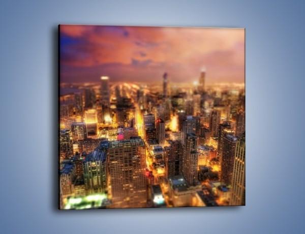 Obraz na płótnie – Rozmyta panorama Chicago – jednoczęściowy kwadratowy AM562