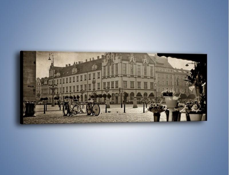 Obraz na płótnie – Rynek Starego Miasta w stylu vintage – jednoczęściowy panoramiczny AM138