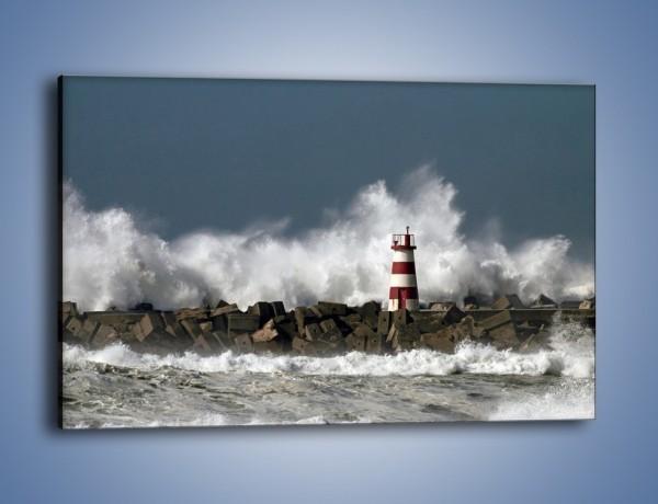 Obraz na płótnie – Latarnia morska w sztormie – jednoczęściowy prostokątny poziomy KN626