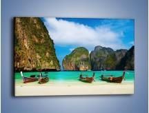 Obraz na płótnie – Relaks przy łódkach – jednoczęściowy prostokątny poziomy KN654