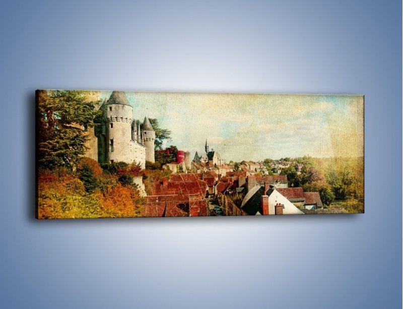Obraz na płótnie – Zamek nad miasteczkiem w stylu vintage – jednoczęściowy panoramiczny AM142
