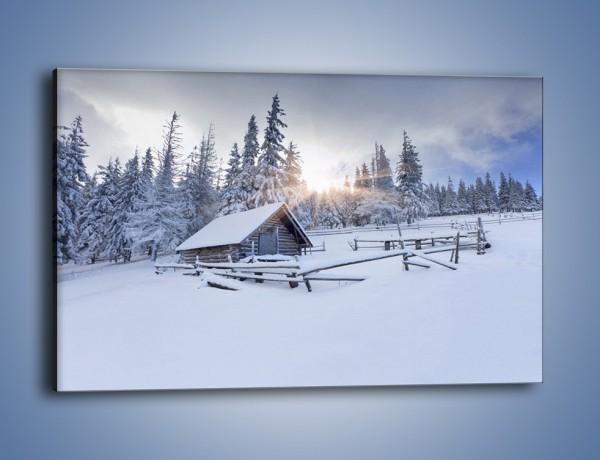 Obraz na płótnie – Chatka zatopiona w śniegu – jednoczęściowy prostokątny poziomy KN696
