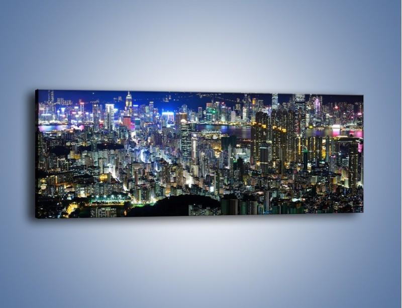 Obraz na płótnie – Nocne światła w dużym mieście – jednoczęściowy panoramiczny AM144