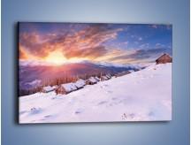 Obraz na płótnie – Chatka w śnieżnym dywanie – jednoczęściowy prostokątny poziomy KN725