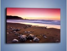 Obraz na płótnie – Porzucone kamienie w piaszczystym brzegu – jednoczęściowy prostokątny poziomy KN735