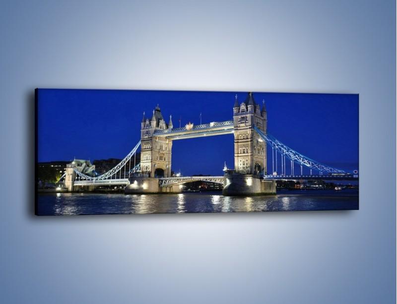 Obraz na płótnie – Tower Bridge nocą – jednoczęściowy panoramiczny AM145