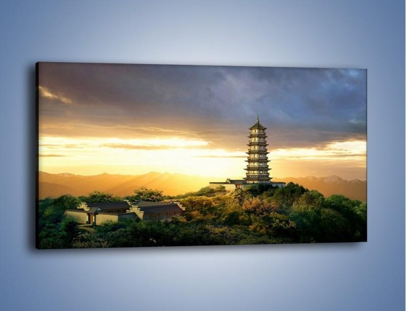 Obraz na płótnie – Azjatycka architektura o poranku – jednoczęściowy panoramiczny AM151