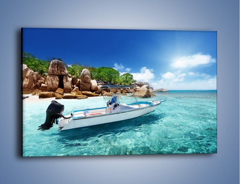 Obraz na płótnie – Błękit w wodzie i niebie – jednoczęściowy prostokątny poziomy KN852