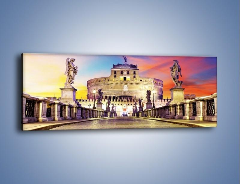 Obraz na płótnie – Zamek św. Anioła na tle kolorowego nieba – jednoczęściowy panoramiczny AM156