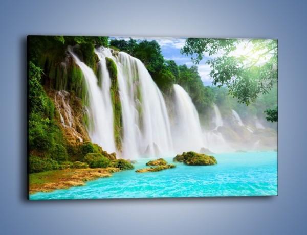 Obraz na płótnie – Wodospad jeden za drugim – jednoczęściowy prostokątny poziomy KN862