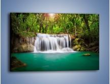 Obraz na płótnie – Piękno leśnego wodospadu – jednoczęściowy prostokątny poziomy KN894