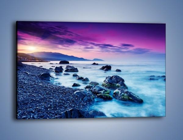 Obraz na płótnie – Kamienny brzeg nad błękitem – jednoczęściowy prostokątny poziomy KN913
