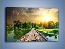 Obraz na płótnie – Ucieczka przez drewniany pomost – jednoczęściowy prostokątny poziomy KN914