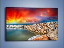 Obraz na płótnie – Promień słońca na kamiennym brzegu – jednoczęściowy prostokątny poziomy KN950