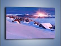 Obraz na płótnie – W górskiej chatce zimą – jednoczęściowy prostokątny poziomy KN977