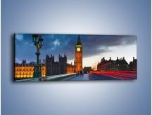 Obraz na płótnie – Big Ben świetle lamp – jednoczęściowy panoramiczny AM166