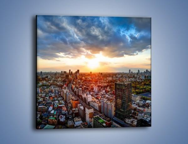 Obraz na płótnie – Panorama miasta o zachodzie słońca – jednoczęściowy kwadratowy AM587