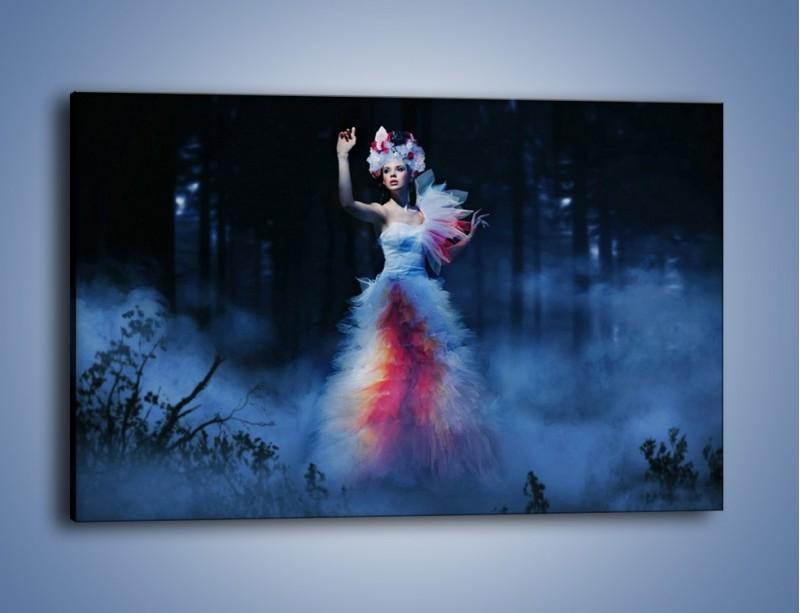 Obraz na płótnie – Biała księżniczka w ponurym lesie – jednoczęściowy prostokątny poziomy L102