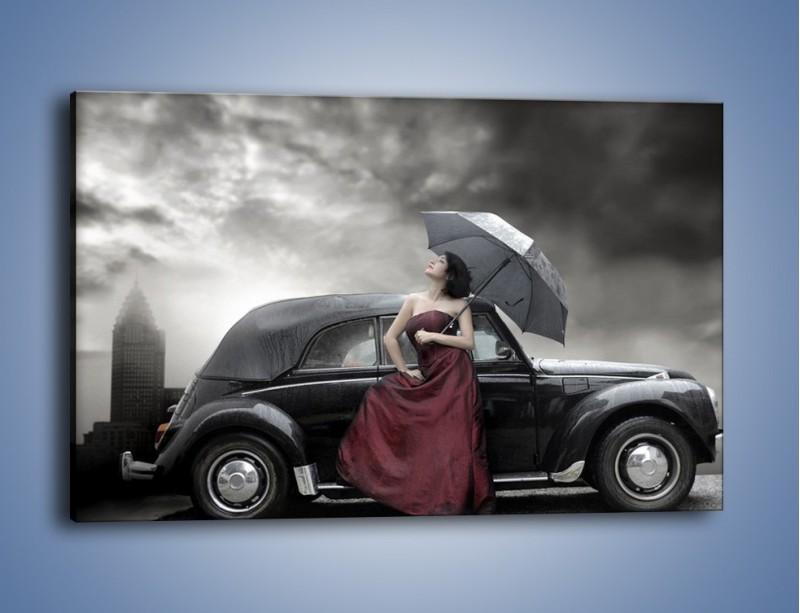 Obraz na płótnie – Dama pod parasolem – jednoczęściowy prostokątny poziomy L139