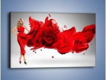Obraz na płótnie – Czerwona róża i kobieta – jednoczęściowy prostokątny poziomy L144