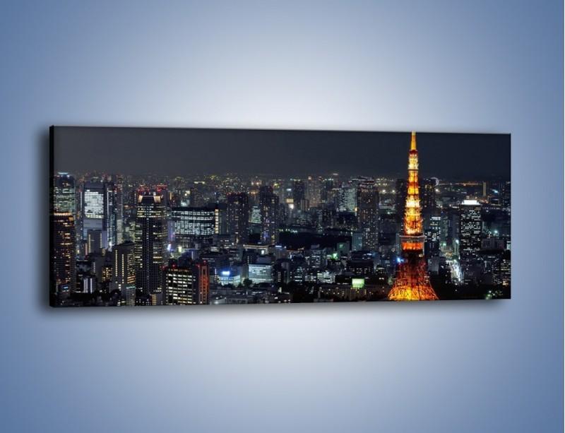 Obraz na płótnie – Rozświetlona Wieża Eiffla nocą – jednoczęściowy panoramiczny AM174