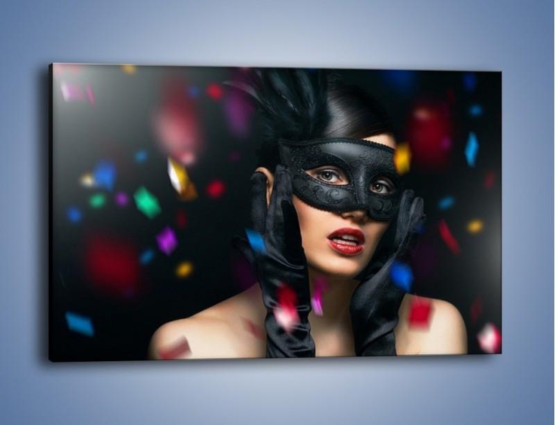 Obraz na płótnie – Bal w czarnych maskach – jednoczęściowy prostokątny poziomy L177