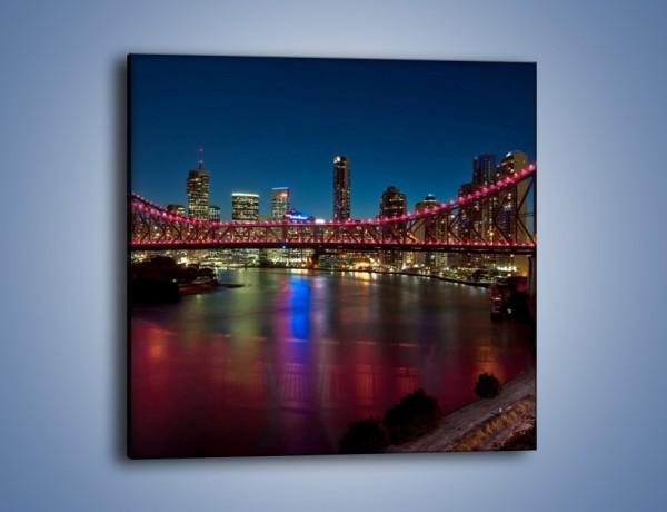 Obraz na płótnie – Most oświetlony na czerwono – jednoczęściowy kwadratowy AM594