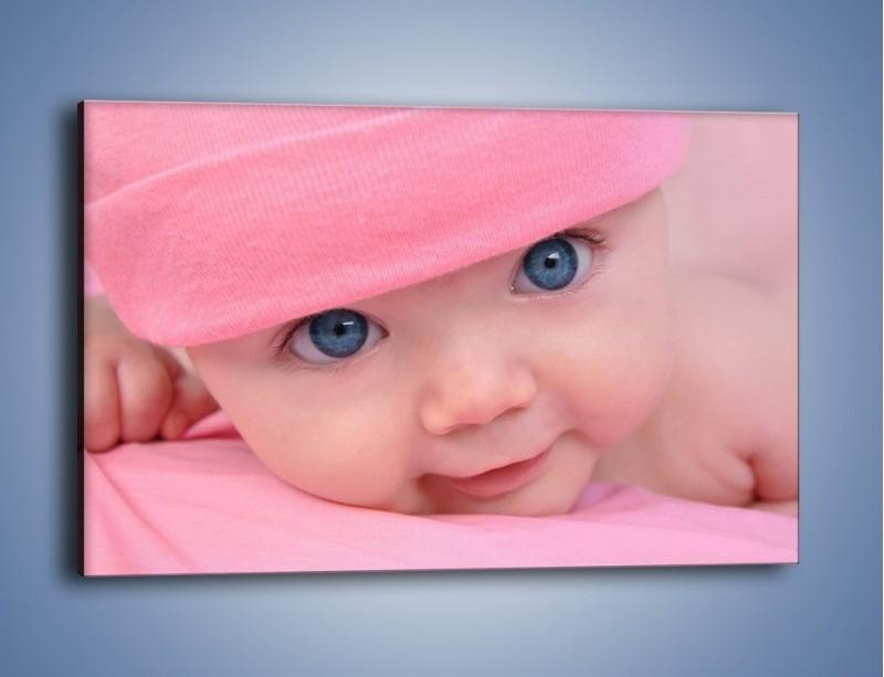 Obraz na płótnie – Bobas w różowej czapeczce – jednoczęściowy prostokątny poziomy L256