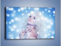 Obraz na płótnie – Biała dama i światełka – jednoczęściowy prostokątny poziomy L318