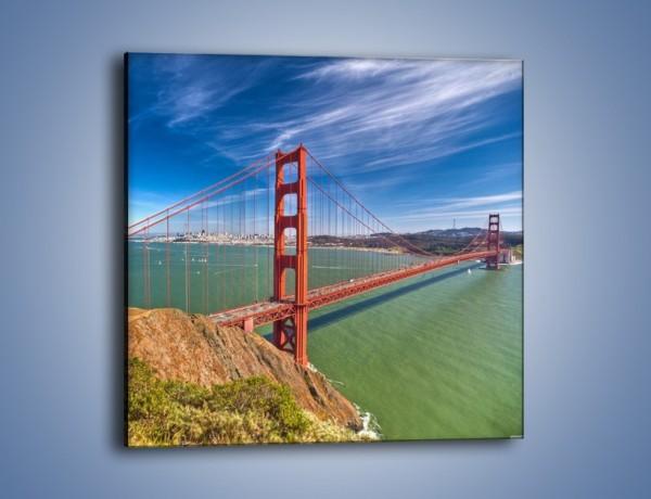 Obraz na płótnie – Most Golden Gate o poranku – jednoczęściowy kwadratowy AM600