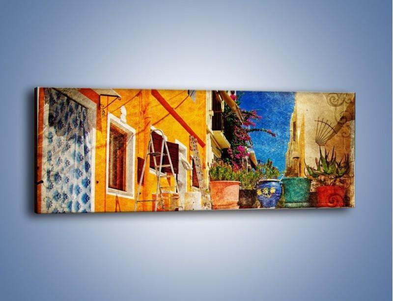 Obraz na płótnie – Greckie domki w stylu vintage – jednoczęściowy panoramiczny AM190