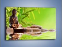 Obraz na płótnie – Medytujący budda nad wodą – jednoczęściowy prostokątny poziomy O022