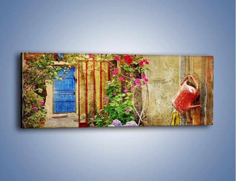 Obraz na płótnie – Mała uliczka w Grecji vintage – jednoczęściowy panoramiczny AM191