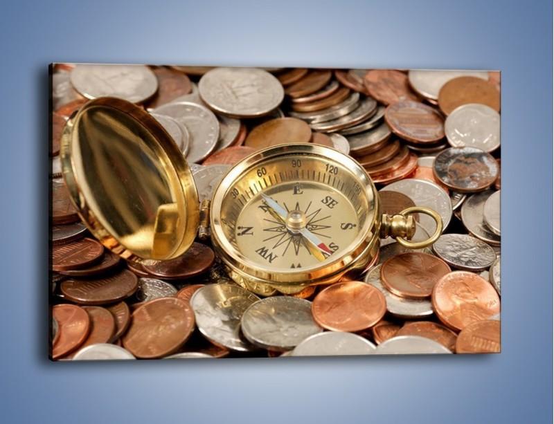 Obraz na płótnie – Kompas zatopiony w monetach – jednoczęściowy prostokątny poziomy O089